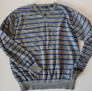 Men's striped v-neck sweater